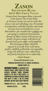 Zanon Sauvignon Blanc 2018 Dry Creek Valley