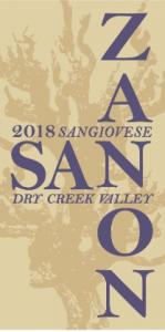 "2018 Zanon Sangiovese""Alto Vineyards""Dry Creek Valley"