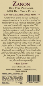 2018 Zanon Zinfandel Dry Creek Valley