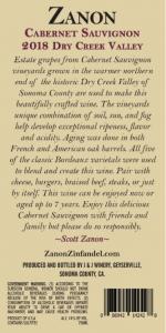 2018 Zanon Cabernet Sauvignon Dry Creek Valley