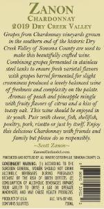 2019 Zanon Chardonnay Dry Creek Valley